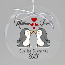 Waddle Together Christmas Printed Ornament