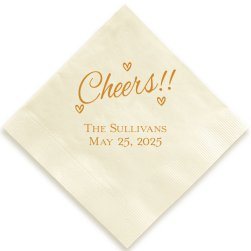 Heartfelt Cheers Napkin - Foil-Pressed