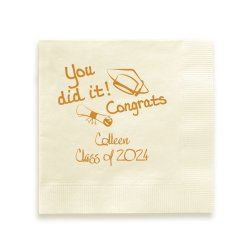 You Did It Graduation Napkin - Foil-Pressed