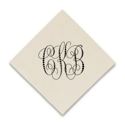 Pearl String Monogram Coaster Napkin - Raised Ink