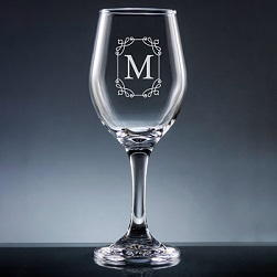 Stately Initial Wine Glass with Stem