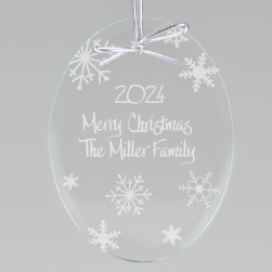Winter Snowflakes Keepsake Ornament - Oval