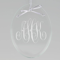 Classic Monogram Keepsake Ornament - Oval