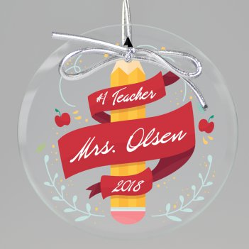 Number One Teacher Keepsake Printed Ornament