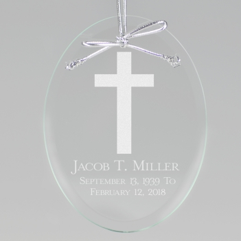 Personalized Memorial Ornament Engraved Remembrance Glass Ornament