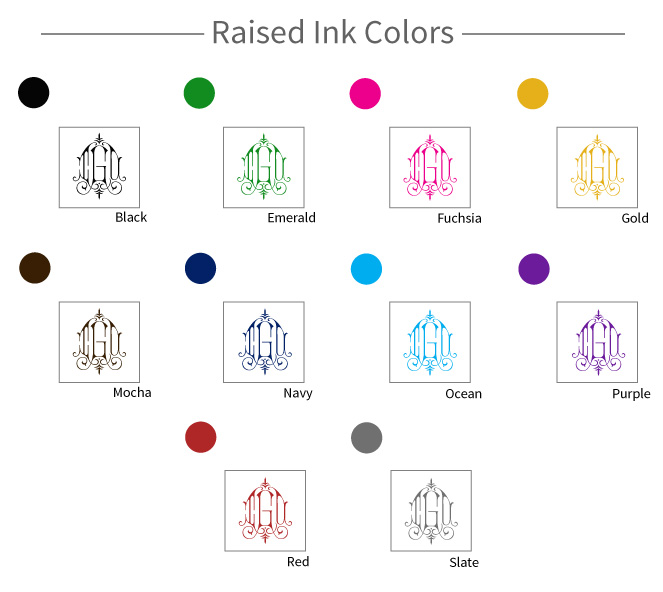 Raised Ink Colors
